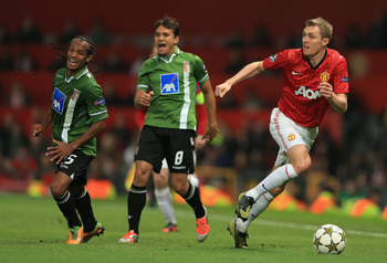 Manchester United midfielder Darren Fletcher played against Braga in the Champions League group stages this season.