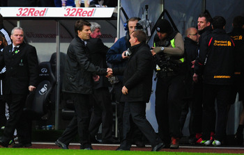 Laudrup greets former manager Rodgers earlier this season