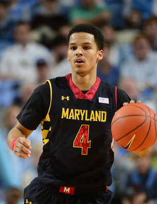 Jan 19, 2013; Chapel Hill, NC, USA; Maryland Terrapins guard Seth Allen (4) dribbles in the first half. The Tar Heels defeated the Terrapins 62-52 at the Dean E. Smith Center. Mandatory Credit: Bob Donnan-USA TODAY Sports