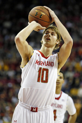 Jan 5, 2013; College Park, MD, USA; Maryland Terrapins forward Jake Layman (10) shoots a free throw against the Virginia Tech Hokies at the Comcast Center. Mandatory Credit: Mitch Stringer-USA TODAY Sports