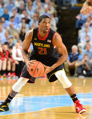Jan 19, 2013; Chapel Hill, NC, USA; Maryland Terrapins guard Pe'Shon Howard (21) looks to pass in the first half. The Tar Heels defeated the Terrapins 62-52 at the Dean E. Smith Center. Mandatory Credit: Bob Donnan-USA TODAY Sports