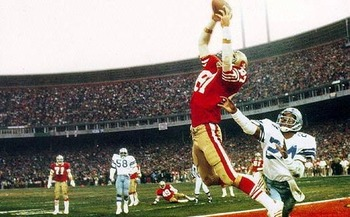 Joe Montana's game-winning touchdown pass to Dwight Clark in the NFC Championship Game that sent the 49ers to their first Super Bowl ever became known as