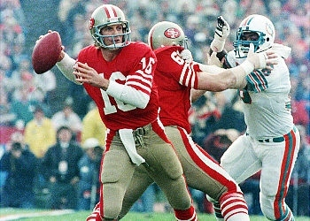 Joe Montana earned his second MVP Award with San Francisco's victory over the Miami Dolphins in Super Bowl XIX. Image via New York Daily News.