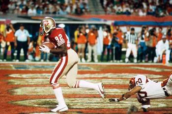 The touchdown pass caught by John Taylor with 34 seconds left to cap Joe Montana's game-winning drive in Super Bowl XXIII. Image via USA Today.