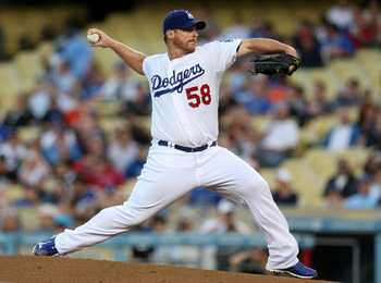 LOS ANGELES, CA - AUGUST 24:  Chad Billingsley #58 of the Los Angeles Dodgers throws a pitch against the Miami Marlins on August 24, 2012 at Dodger Stadium in Los Angeles, California.  (Photo by Stephen Dunn/Getty Images)