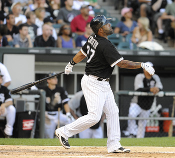 CHICAGO, IL - JULY 04:  Ramon Castro # 27 of the Chicago White Sox hits a solo home run against the Kansas City Royals in the fifth inning on July 4, 2011 at U.S. Cellular Field in Chicago, Illinois.  (Photo by David Banks/Getty Images)