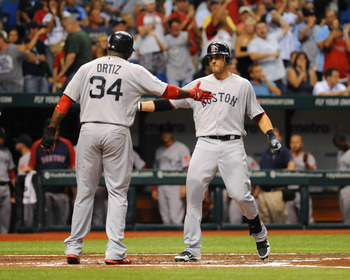 Will Middlebrooks meets David Ortiz at home plate after a home run, who mentored him during his injury.