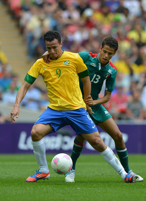 Leandro Damiao in action for Brazil at London 2012.