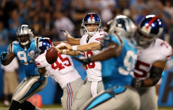 CHARLOTTE, NC - SEPTEMBER 20:  Eli Manning #10 of the New York Giants during their game at Bank of America Stadium on September 20, 2012 in Charlotte, North Carolina.  (Photo by Streeter Lecka/Getty Images)