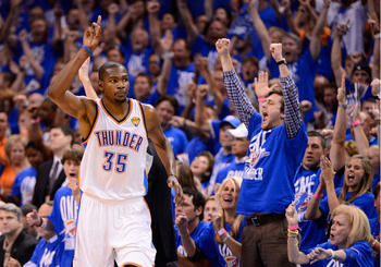Kevin Durant receives support from Oklahoma City fans in the Thunder's Game 1 victory.