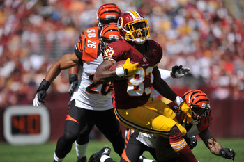 Fred Davis stretches for extra yards during a September 23 game against the Cincinnati Bengals.