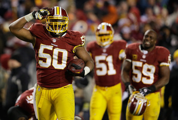 Rob Jackson celebrates an interception during a Dec. 30th game against the Dallas Cowboys.