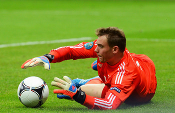 WARSAW, POLAND - JUNE 28:  Manuel Neuer of Germany in action during the UEFA EURO 2012 semi final match between Germany and Italy at the National Stadium on June 28, 2012 in Warsaw, Poland.  (Photo by Shaun Botterill/Getty Images)
