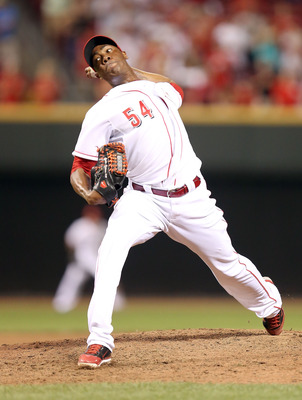 CINCINNATI, OH - AUGUST 01:  Aroldis Chapman #54 of the Cincinnati Reds throws a pitch during the game against the  San Diego Padres at Great American Ball Park on August 1, 2012 in Cincinnati, Ohio.  (Photo by Andy Lyons/Getty Images)