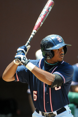 June 1, 2012; Tallahassee, FL, USA; Samford Bulldogs outfielder Phillip Ervin (6) prepares to bat during the fourth inning in game one of the Tallahassee regional at Dick Howser Stadium.  Mandatory Credit: Melina Vastola-USA TODAY Sports