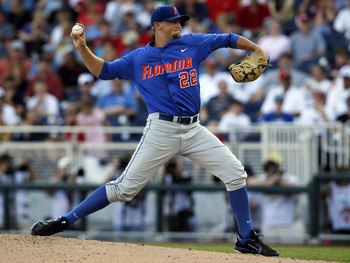 June 28, 2011; Omaha, NE, USA;  Florida Gators pitcher Karsten Whitson (22) pitches against the South Carolina Gamecocks during the 2011 College World Series at TD Ameritrade Park. Mandatory Credit: Bruce Thorson-USA TODAY Sports