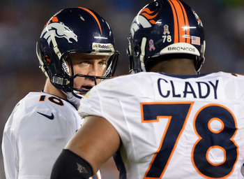 SAN DIEGO, CA - OCTOBER 15:  Peyton Manning #18 of the Denver Broncos speaks to Ryan Clady #78 during the game against the San Diego Chargers  at Qualcomm Stadium on October 15, 2012 in San Diego, California.  (Photo by Harry How/Getty Images)