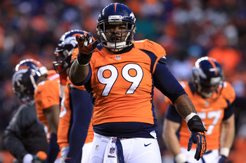 DENVER, CO - JANUARY 12:  Kevin Vickerson #99 of the Denver Broncos reacts in the second half against the Baltimore Ravens during the AFC Divisional Playoff Game at Sports Authority Field at Mile High on January 12, 2013 in Denver, Colorado.  (Photo by Do
