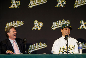 These two are laughing about more than Nakajima's take on Billy Beane's sex appeal.