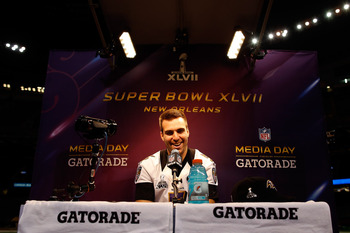 Joe Flacco on the edge of elite during Super Bowl Media Day.