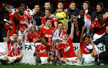 Manchester United win the FA Youth Cup final against Sheffield United in 2011.