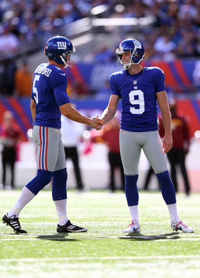 Weatherford (left) and Tynes (right) celebrating one of Tynes' 33 field goals this season.