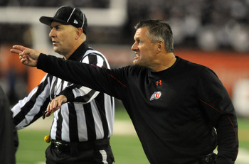 CORVALLIS, OR - OCTOBER 20: Head coach Kyle Whittingham of the Utah Utes reacts to an officials call in the fourth quarter of the game against the Oregon State Beavers on October 20, 2012 at Reser Stadium in Corvallis, Oregon. The Beavers won the game 21-