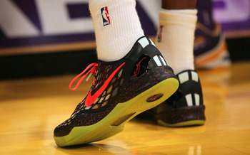 LOS ANGELES, CA - DECEMBER 25:  A detailed view of the shoes of Kobe Bryant #24 of the Los Angeles Lakers prior to the NBA game against the New York Knicks at Staples Center on December 25, 2012 in Los Angeles, California. The Lakers defeated the Knicks 1