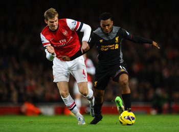 Per Mertesacker struggled to get to grips with Daniel Sturridge.