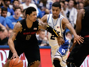 Jan 26, 2013; Durham, NC, USA; Maryland Terrapins guard Nick Faust (5) drives around Duke Blue Devils guard Quinn Cook (2) during the second half at Cameron Indoor Stadium.  Mandatory Credit: Mark Dolejs-USA TODAY Sports