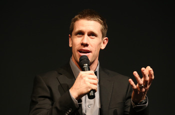 CONCORD, NC - JANUARY 24:  Carl Edwards, driver for Roush Fenway Racing, speaks to the media during the 2013 NASCAR Sprint Media Tour on January 24, 2013 in Concord, North Carolina.  (Photo by Streeter Lecka/Getty Images for NASCAR)