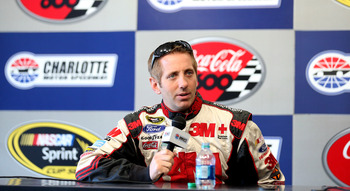 CHARLOTTE, NC - JANUARY 18:  Greg Biffle, driver of the #16 Ford, speaks to the media during NASCAR Testing at Charlotte Motor Speedway on January 18, 2013 in Charlotte, North Carolina.  (Photo by Streeter Lecka/Getty Images for NASCAR)