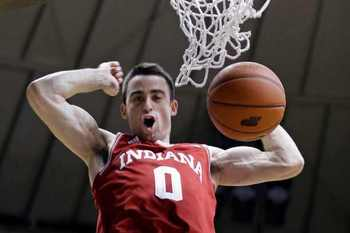 Will Sheehey slams one home in IU's 97-60 rout of Purdue at Mackey Arena on Wednesday (photo credit:http://www.newstimes.com).