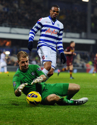 Joe Hart in action against Queens Park Rangers.