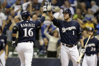 Ramirez and Hart celebrating a run.