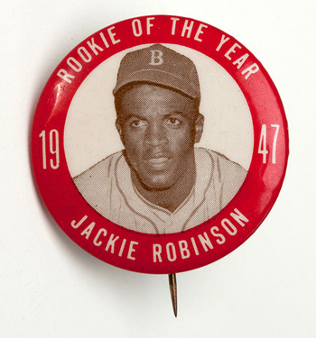 Jackie Robinson won MLB's first Rookie of the Year award in 1947 (image courtesy of monthly.scpauctions.com).