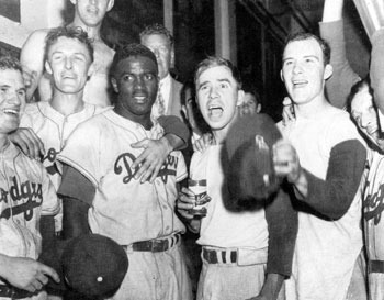 Jackie Robinson helped the Dodgers finaly defeat the Yankees to win the 1955 World Series (image courtesy of www.sandomenico.org). .