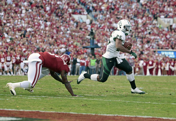 Baylor tailback Lache Seastrunk scored three touchdowns against the Sooners last season.