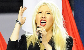 Christina Aguilera Butchering the National Anthem via Jeff Kravitz/FilmMagic
