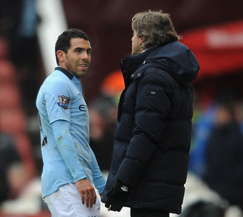 Whatever Mancini is telling Tevez, it is not working.