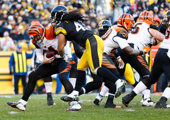 PITTSBURGH, PA - DECEMBER 23: Troy Polamalu #43 of the Pittsburgh Steelers sacks Andy Dalton #14 of the Cincinnati Bengals during the game at Heinz Field on December 23, 2012 in Pittsburgh, Pennsylvania. (Photo by Jared Wickerham/Getty Images)