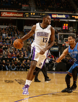 SACRAMENTO, CA - JANUARY 25:  Tyreke Evans #13 of the Sacramento Kings in action against the Oklahoma City Thunder at Sleep Train Arena on January 25, 2013 in Sacramento, California. NOTE TO USER: User expressly acknowledges and agrees that, by downloadin