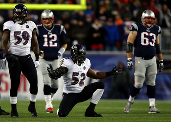 FOXBORO, MA - JANUARY 20:  Ray Lewis #52 of the Baltimore Ravens celebrates after a play in the second quarter against the New England Patriots during the 2013 AFC Championship game at Gillette Stadium on January 20, 2013 in Foxboro, Massachusetts.  (Phot
