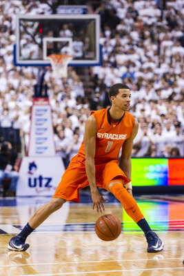 Jan 26, 2013; Philadelphia, PA, USA; Syracuse Orange guard Michael Carter-Williams (1) during the second half against the Villanova Wildcats at the Wells Fargo Center. Villanova defeated Syracuse 75-71 during overtime. Mandatory Credit: Howard Smith-USA T