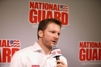 CONCORD, NC - JANUARY 23:  Dale Earnhardt Jr., driver for Hendrick Motorsports, speaks to the media during the 2013 NASCAR Sprint Media Tour on January 23, 2013 in Concord, North Carolina.  (Photo by Streeter Lecka/Getty Images for NASCAR)