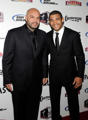LAS VEGAS, NV - DECEMBER 01:  Mixed martial artist Jose Aldo (R) and his manager Ed Soares arrive at the third annual Fighters Only World Mixed Martial Arts Awards 2010 at the Palms Casino Resort December 1, 2010 in Las Vegas, Nevada.  (Photo by Ethan Mil