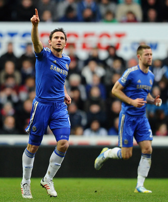 Lampard celebrating his 197th goal for Chelsea.