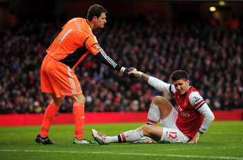 Olivier Giroud worked hard against an impressive Stoke defence.