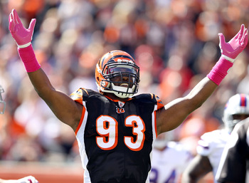 Michael Johnson celebrates after one of his 11.5 sacks in 2012.