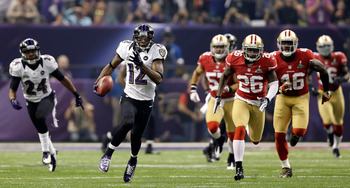 Jacoby Jones' second-half kickoff return is the longest play in Super Bowl history.